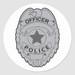 POLICE OFFICER BADGE CLASSIC ROUND STICKER