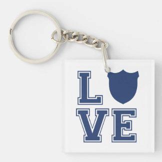 Police Officer Badge - L O V E Keychain