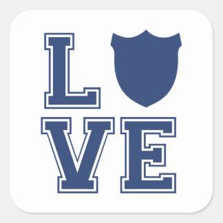 Police Officer Badge - L O V E Square Sticker
