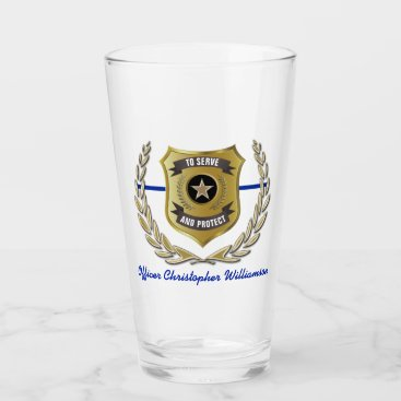 Police Officer Badge Personalized  Pint Glass