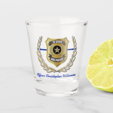 Police Officer Badge Personalized Shot Glass