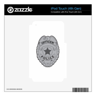 POLICE OFFICER BADGE DECALS FOR iPod TOUCH 4G