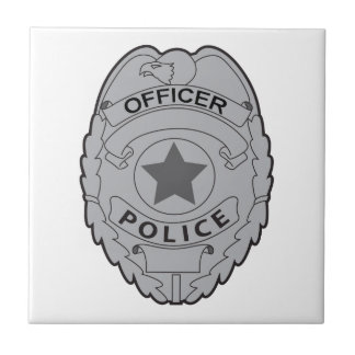 POLICE OFFICER BADGE SMALL SQUARE TILE