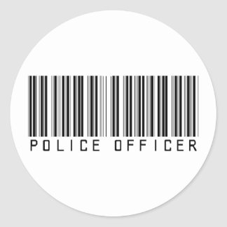 Police Officer Bar Code Classic Round Sticker