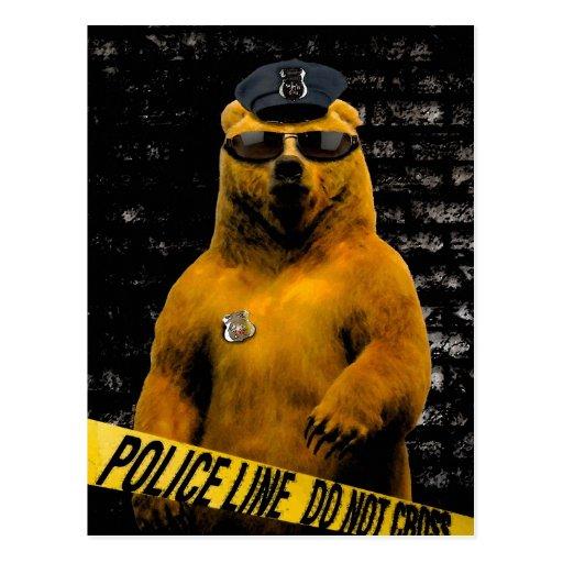Police Officer Bear! Postcard