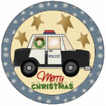 Police Officer Christmas Tree Ornament Photo Cutouts
