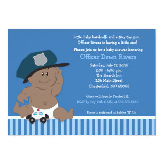 """POLICE OFFICER Cop Baby Shower Invitation 5x7 5"""" X 7"""" Invitation Card"""