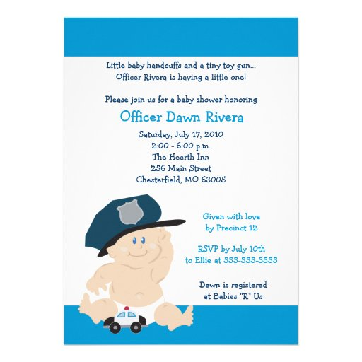Personalized police baby shower invitations custominvitations4u police officer cop baby shower invitation 5x7 filmwisefo