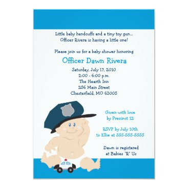 Toddler & Baby themed POLICE OFFICER Cop Baby Shower Invitation 5x7