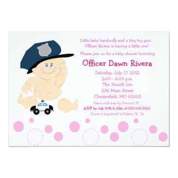 Toddler & Baby themed POLICE OFFICER Cop GIRL Baby Shower Invitation 5x7