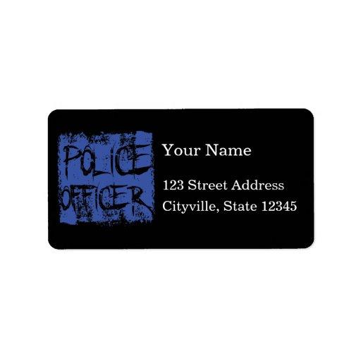 Police Officer Etched Address Label