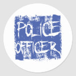 Police Officer Etched Round Sticker