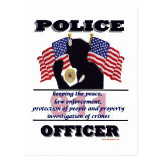 Police_Officer_Flags_Text Postcard