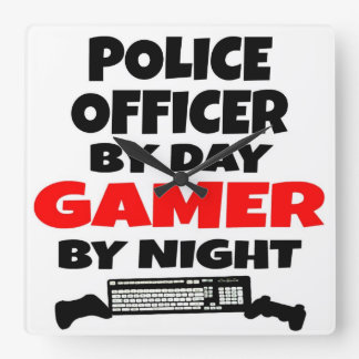 Police Officer Gamer Square Wall Clock