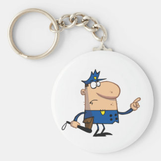 Police-officer-gestures-with-finger Basic Round Button Keychain