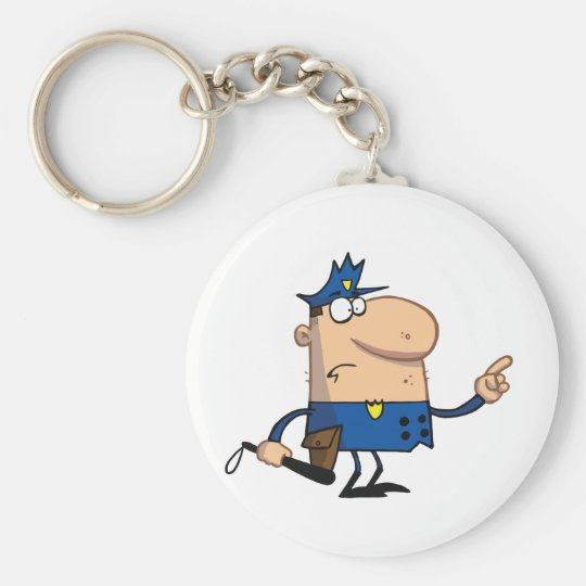 Police-officer-gestures-with-finger Keychain