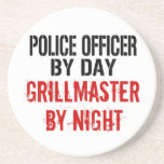 """Police Officer Grillmaster Drink Coaster<br><div class=""""desc"""">This barbecue grilling text design is perfect for anyone who is a police officer by day but a grillmaster by night.</div>"""