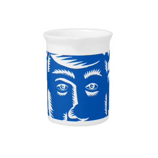 Police Officer Head Woodcut Beverage Pitcher