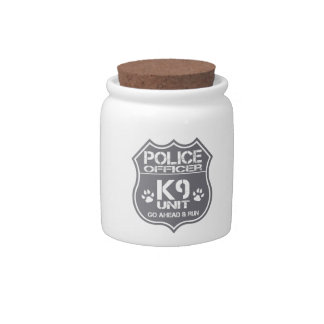 Police Officer K9 Unit Go Ahead Run Candy Dishes
