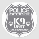 Police Officer K9 Unit Go Ahead Run Classic Round Sticker