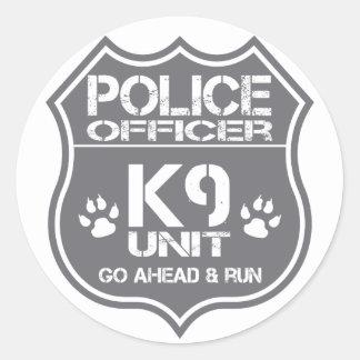 Police Officer K9 Unit Go Ahead Run Classic Round Sticker