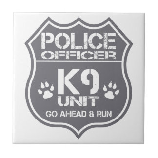 Police Officer K9 Unit Go Ahead Run Tile