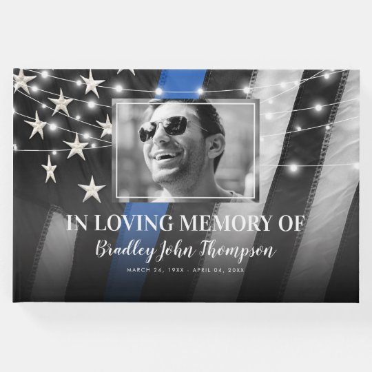 Police Officer Memorial Thin Blue Line Guest Book