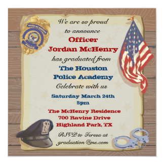 "Police Officer Party Invitation 5.25"" Square Invitation Card"