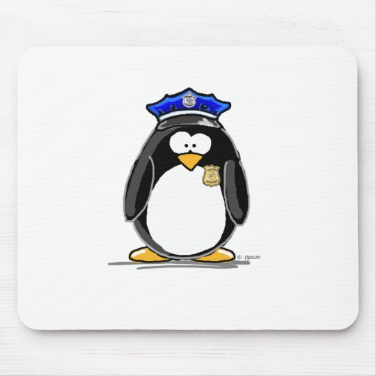 Police Officer Penguin Mouse Pad