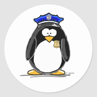 Police Officer Penguin Classic Round Sticker
