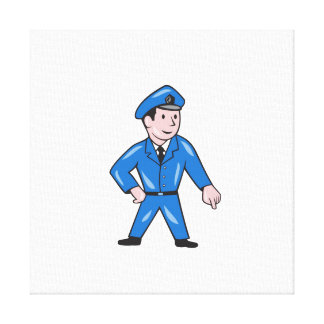 Police Officer Pointing Down Cartoon Canvas Print