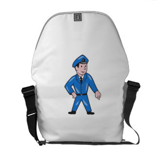 Police Officer Pointing Down Cartoon Courier Bag