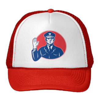 Police Officer Policeman Stop Hand Hat