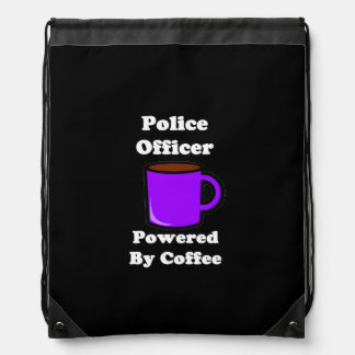 """""""Police Officer"""" Powered by Coffee Drawstring Backpack"""