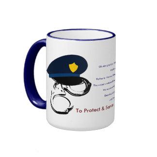 Police Officer Prayer Inspirational Faith Rescue Ringer Coffee Mug
