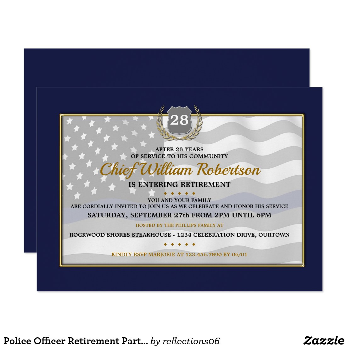 Police Officer Retirement Party Invitations
