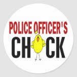 Police Officer's Chick 1 Classic Round Sticker