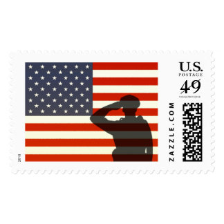 Police Officer Salute American Flag Postage Stamp
