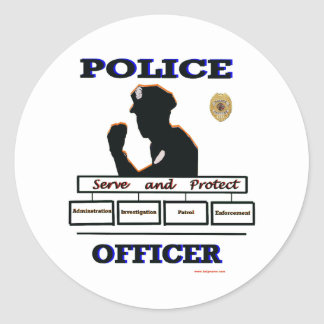 Police_Officer_Serve_Protect Classic Round Sticker