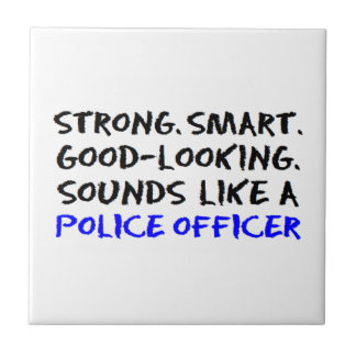 Police officer sound small square tile