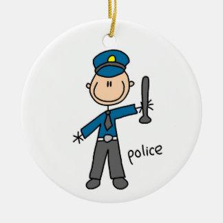 Police Officer Stick Figure Ceramic Ornament