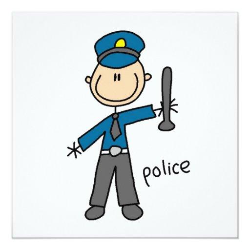 Police Officer Stick Figure Invites