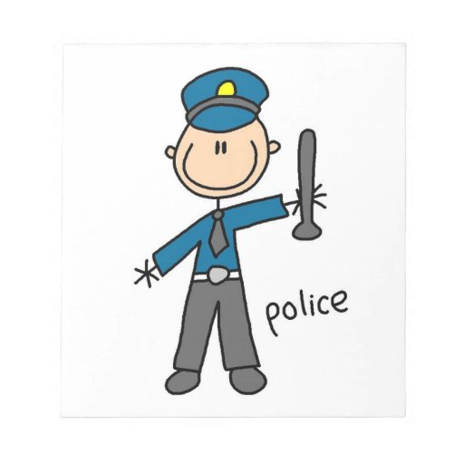 Police Officer Stick Figure Memo Notepads