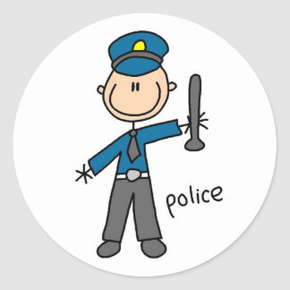 Police Officer Stick Figure Classic Round Sticker