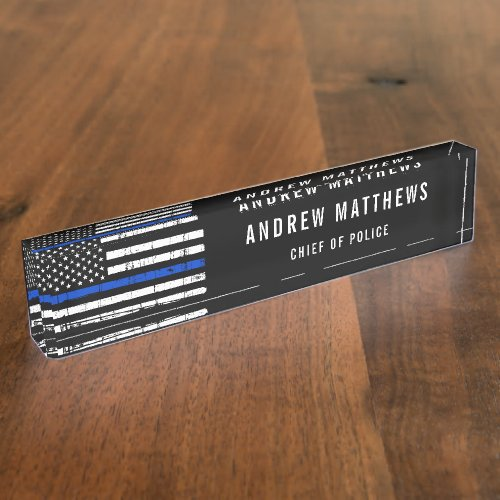 Police Officer Thin Blue Line American Flag Desk Name Plate