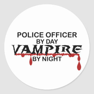 Police Officer Vampire by Night Classic Round Sticker
