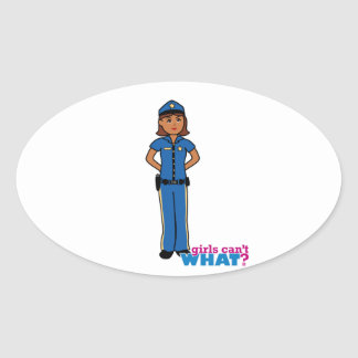 Police Officer Woman Oval Sticker