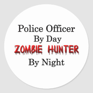 Police Officer/Zombie Hunter Classic Round Sticker