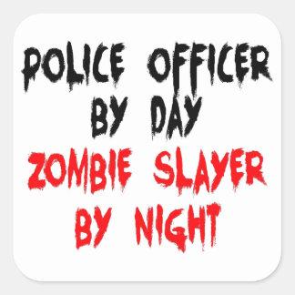 Police Officer Zombie Slayer Square Sticker
