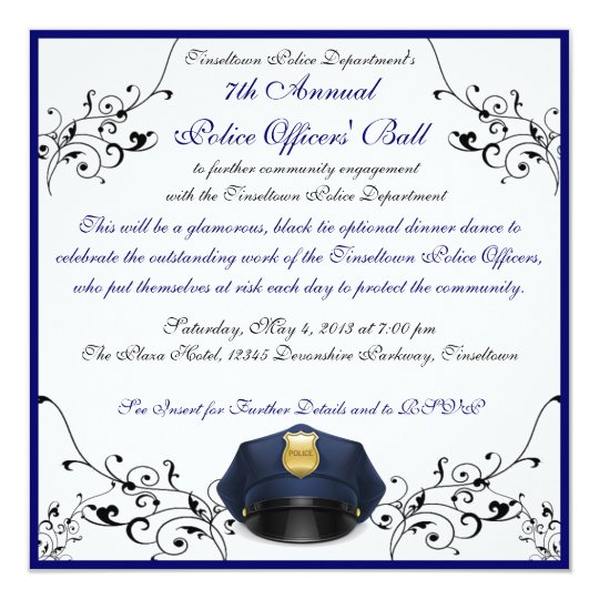 Police Officers' Ball Custom Invitations | Zazzle.com